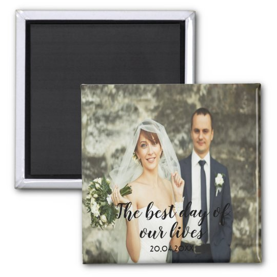 Custom wedding photo with text date black letters