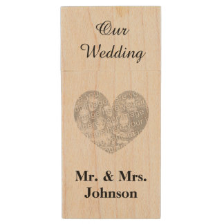 Custom wedding photo wood USB flash drive keepsake