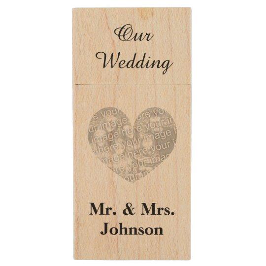 Custom wedding photo wood USB flash drive keepsake