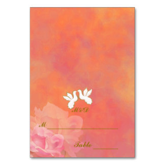 CUSTOM WEDDING PLACE CARDS, LOVE BIRDS FLOWER SET TABLE CARDS
