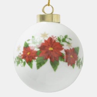 Custom Wedding Poinsetta Ceramic Ball  Ornament