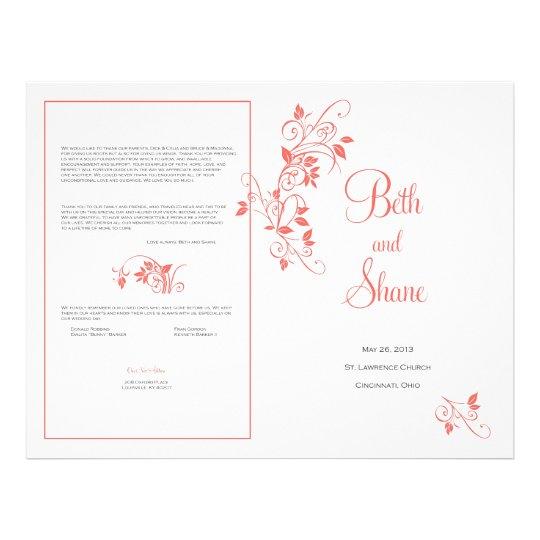 Custom Wedding Program - Coral Flyer