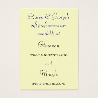 475 Wedding Registry Business Cards and Wedding Registry Business