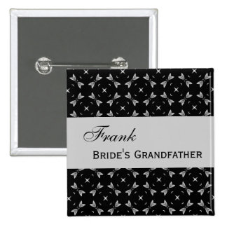 CUSTOM WEDDING ROLE Black and Silver Star Pattern 15 Cm Square Badge