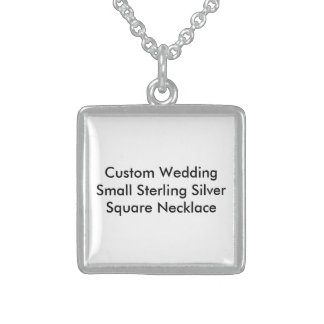 Custom Wedding (S) Sterling Silver Square Necklace Pendant
