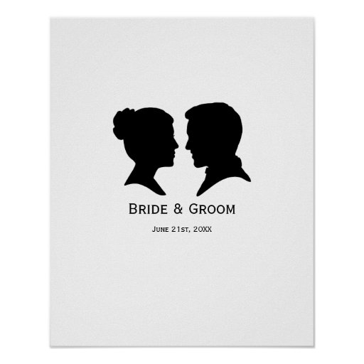 Custom Wedding Silhouette Autograph poster