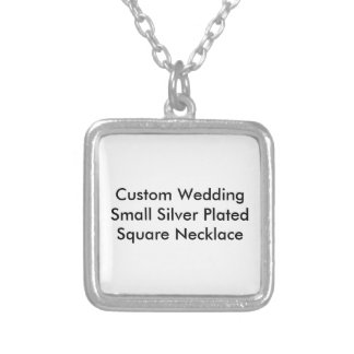 Custom Wedding Small Silver Plated Square Necklace Pendants