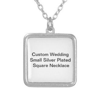 Custom Wedding Small Silver Plated Square Necklace