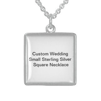 Custom Wedding  Sterling Silver Square Necklace