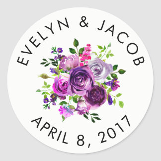 Custom Wedding Sticker - Purple Watercolor Bouquet