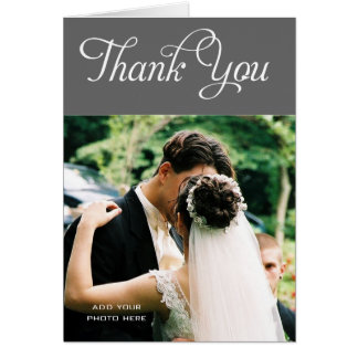 Custom Wedding Thank You Photo Cards Message Grey