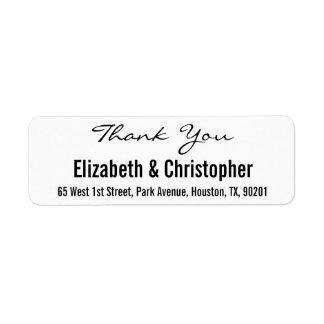 Custom Wedding Thank You Return Address Label