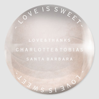 Custom Wedding Thanks Pink Rose Gold Pearl Bubble Classic Round Sticker