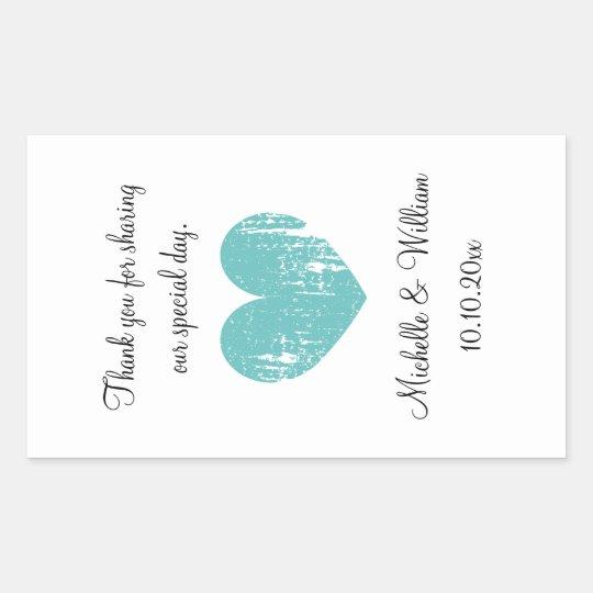 Custom wedding wine bottle sticker with aqua heart