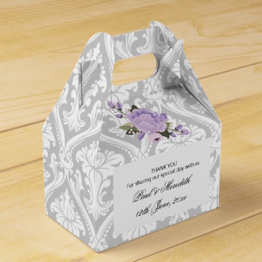 Custom Weddings Grey Damask Gable Favour Box