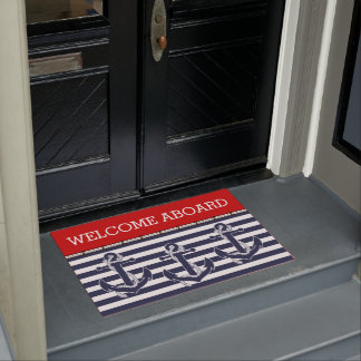Custom Welcome Aboard Anchors Stripes Pattern Doormat
