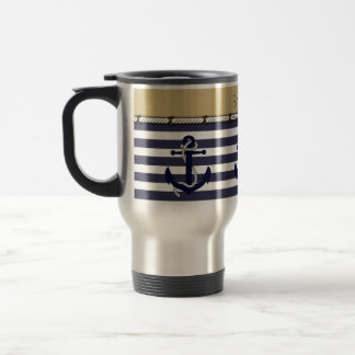 Custom Welcome Aboard Anchors Stripes Pattern Travel Mug