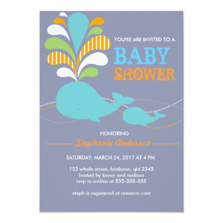 Custom whale baby shower invitation