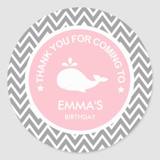 Custom Whale Chevron Birthday Sticker