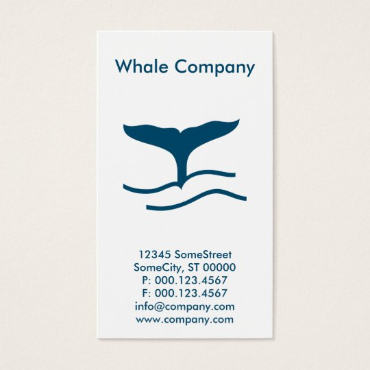 custom whale company business card
