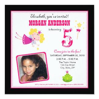 ":custom: Whimsical Fairies Birthday Invite: black 5.25"" Square Invitation Card"