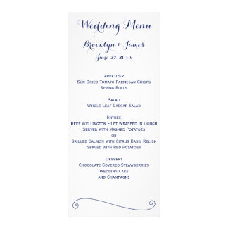 Custom White And Blue Wedding Menu Cards