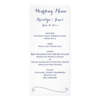 Custom White And Blue Wedding Menu Cards Full Colour Rack Card