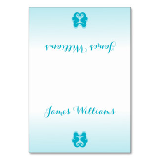 Custom White Blue Seahorse Wedding Place Cards Table Cards
