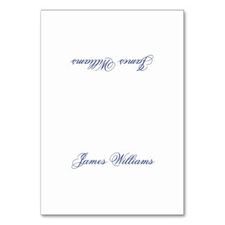 Custom White Blue Simple Place Setting Cards Table Cards