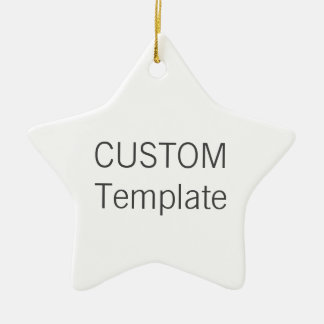 Custom White Ceramic STAR Christmas Tree Ornament