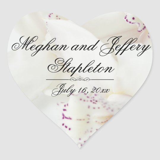 Custom White Floral Heart-Shaped Wedding Stickers