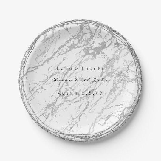 Custom White Gray Carrara Silver Marble 7 Inch
