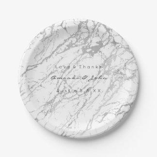 Custom White Gray Carrara Silver Marble VIP Paper Plate