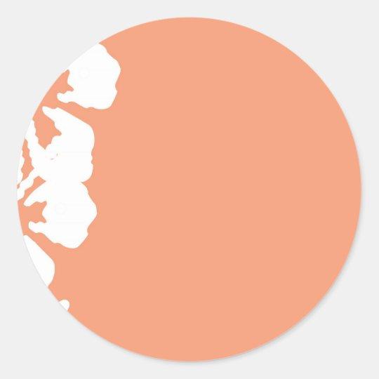 Custom White Hibiscus Design Classic Round Sticker