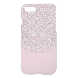 Custom white Mandala pattern on clear phone case