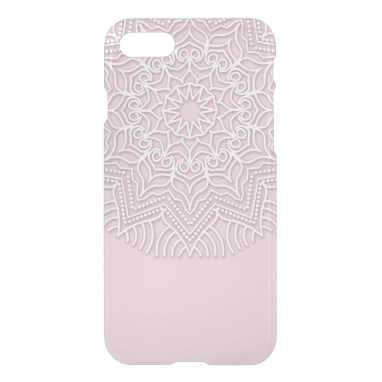 Custom white Mandala pattern on clear phone case