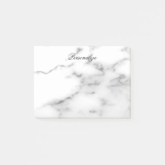 Custom white marble stone background post-it notes