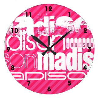 Custom White Name Pattern on Hot Pink Stripes Large Clock