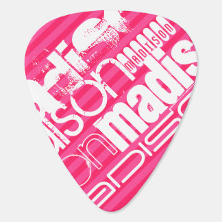 Custom White Name Pattern on Hot Pink Stripes Plectrum