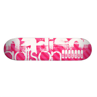 Custom White Name Pattern on Hot Pink Stripes Skate Board Decks