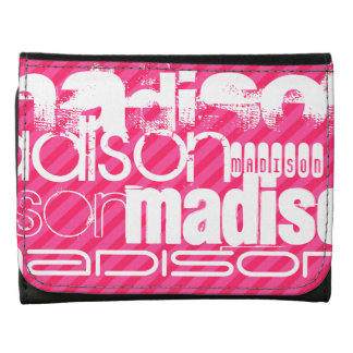 Custom White Name Pattern on Hot Pink Stripes Wallets