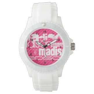 Custom White Name Pattern on Hot Pink Stripes Watch