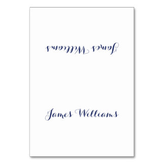 Custom White Navy Blue Place Setting Cards Table Card
