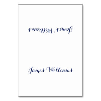 Custom White Navy Blue Place Setting Cards Table Cards