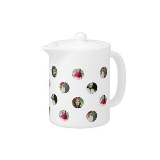 Custom White Photo Dot Teapot