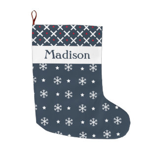 Custom White Snowflakes and Blue Abstract Pattern Large Christmas Stocking