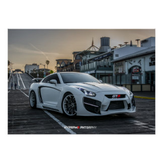 Custom Widebody Nissan GT-R with LEDs Poster