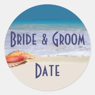Custom Wine or Beer bottle Beach Wedding Labels Round Sticker