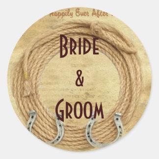 Custom Wine or Beer bottle Western Wedding Labels Round Sticker