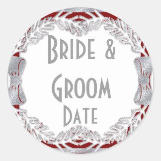 Custom Wine or Beer bottle Winter Wedding Labels Round Sticker